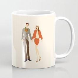 Retro Wedding - Modern, Fashion Inspired, Couple Portrait, Illustration Print Coffee Mug