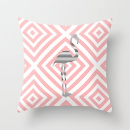 Flamingo - Abstract geometric pattern - pink and white. Throw Pillow