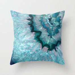 Teal Crystal Throw Pillow