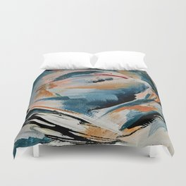 Drift 6: a bold mixed media piece in blues, brown, pink and red Duvet Cover