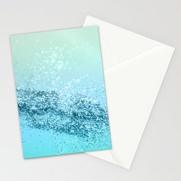 Seafoam Aqua Ocean MERMAID Girls Glitter #3 #shiny #decor #art #society6 Stationery Cards