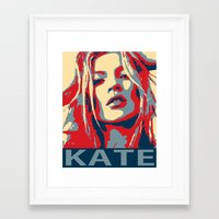 kate moss Framed Art Prints featuring Kate moss by Christophe Chiozzi