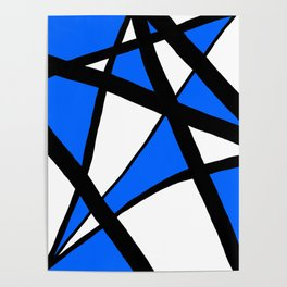 China Blue Geometric Triangle Abstract Poster