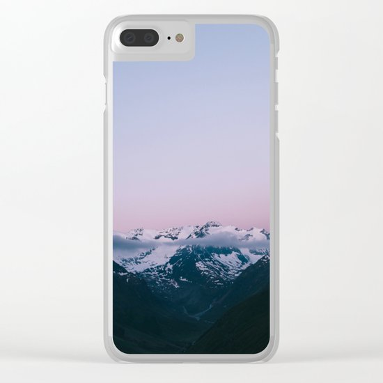 Sunset Mountains (pastel) Clear iPhone Case
