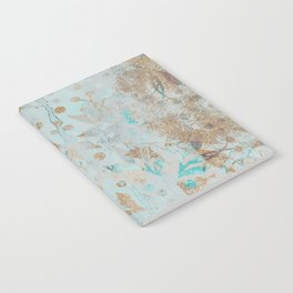 Pastel Botanical Watercolor Pattern Teal Gold Glitter Notebook