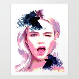 Girl with Ravens Art Print