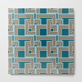 Modern Striped Squares in Teal, Burnt Orange and Cream Metal Print