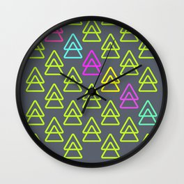 neon triangles Wall Clock