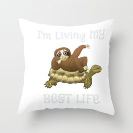 Cute I'm Living My Best Life Sloth & Turtle Animal Throw Pillow