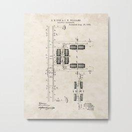Railway Telegraph Vintage Patent Hand Drawing Metal Print