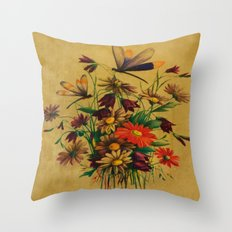 Stained Glass Dragonflies & Flowers Throw Pillow