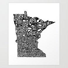 Typographic Minnesota Art Print