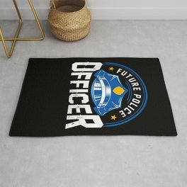 Future Police Officer Cop Thin Blue Line Rug