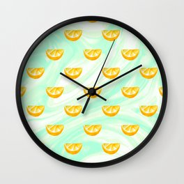 Summer watercolor oranges and marbleized design Wall Clock