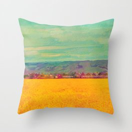 Teal Sky, Indigo Mountains, Mustard Plants, Colorful Houses Throw Pillow