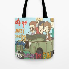 One Direction Live Like We're Young Cartoon Tote Bag