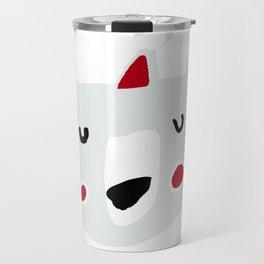 Cute holiday bear white Travel Mug