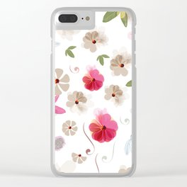 Cute soft spring pattern with flowers Clear iPhone Case