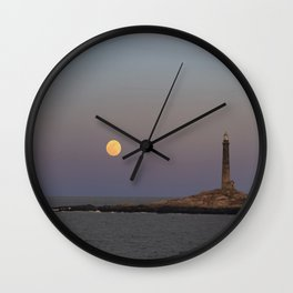 Moonrise Over Thacher Island Wall Clock