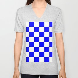 Large Checkered - White and Blue Unisex V-Neck
