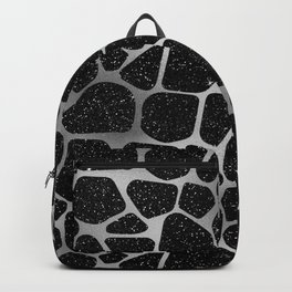 Glam Black and Gray Faux Glitter Giraffe Print Backpack