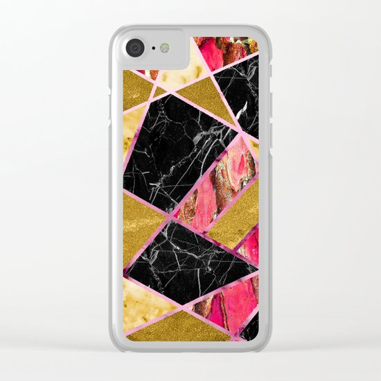 Abstract #456 Marble & Gold Clear iPhone Case