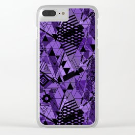 Abstract ethnic pattern in black, purple colors. Clear iPhone Case