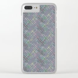 Gray checkered pattern. Clear iPhone Case