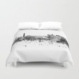 Buenos Aires skyline in black watercolor Duvet Cover