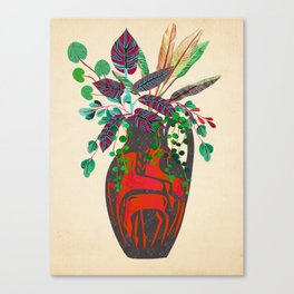 Midcentury Fat Lava Vase with tropical greenery Canvas Print