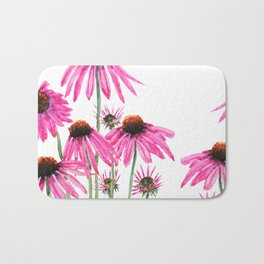 pink coneflowers watercolor Bath Mat