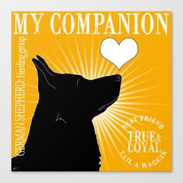 GERMAN SHEPHERD – My Companion - Golden Yellow Canvas Print