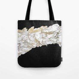Stylish black white faux gold marble brushstrokes Tote Bag