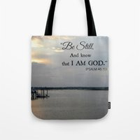 scripture Tote Bags featuring Hilton Head Island, Scripture by Stephanie Stonato