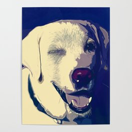 labrador retriever dog winking vector art foggy night Poster