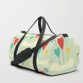 Heart Balloons above the Clouds Duffle Bag