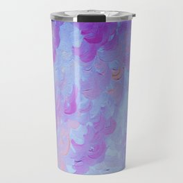 PURPLE PLUMES - Soft Pastel Wispy Lavender Clouds Lilac Plum Periwinkle Abstract Acrylic Painting  Travel Mug