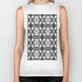 Geometric Black and White Tribal-Inspired Repeat Pattern Biker Tank