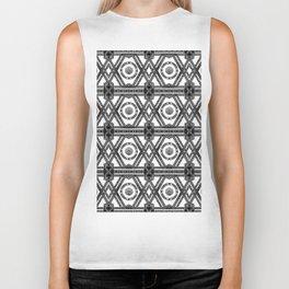 Geometric Black and White Panel Repeat Pattern Biker Tank