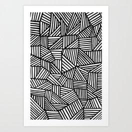 Black Brushstrokes Art Print