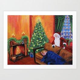 Christmas waiting for Santa Art Print