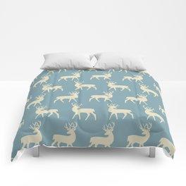 Mid Century Modern Deer Pattern Venetian Blue and Tan Comforters