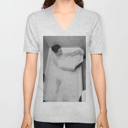 A Good Book and a Bath, female form black and white photography / photograph Unisex V-Neck