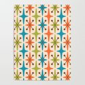Mid Century Modern Abstract Star Pattern 441 Orange Brown Turquoise Chartreuse by tonymagner