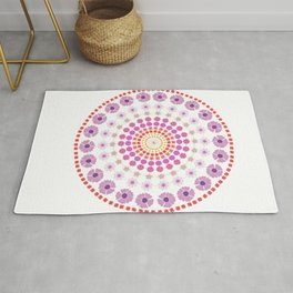 simple flowers mandala art Rug
