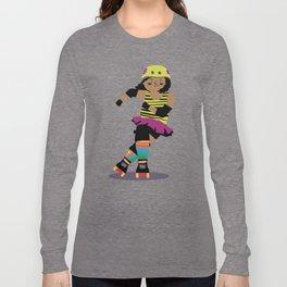 Roller Derby Girl (black skin) Long Sleeve T-shirt