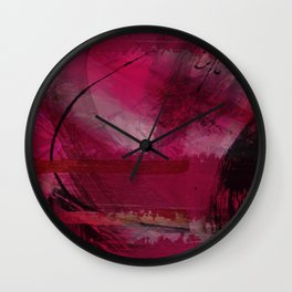 """""""Spring abstract in Magenta and Black"""" Wall Clock"""