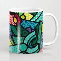 artsy Mugs featuring Artsy Bot by Brandon Ortwein