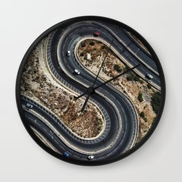 Aerial: Curved Road Wall Clock