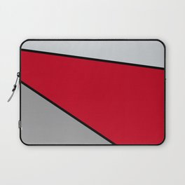 Diagonal Color Blocks in Red and Grays Laptop Sleeve